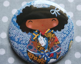 Pretty magnet 'Blue' spirit Kokeshi Asian and floral
