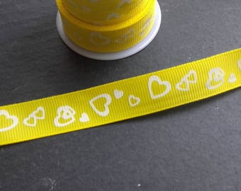 Yellow Ribbon heart white grosgrain Ribbon 15mm