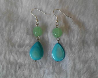 Blue and green pearl earrings