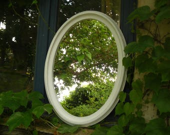 Oval white and gray weathered wood frame mirror