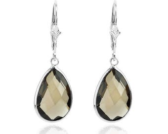 14K White Gold Gemstone Earrings With Dangling Pear Shaped Smoky Quartz