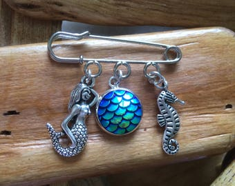 Mermaid and seahorse brooch tibetan silver with Iridescent scale handmade
