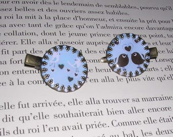 2 vintage - 25mm cabochon - Bird hair clips