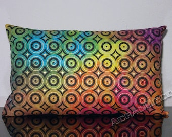 "Retro cushion ""circles psychedelic"" magenta/pink/yellow/orange/green/lime/turquoise/Mocha/chocolate/black and gold metallic."
