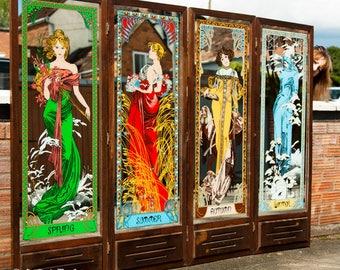 1970's Vintage Alphonse Mucha 'Four Seasons' Mirrors by Aspell Saggers & Co 1978 - Mirror - Screen