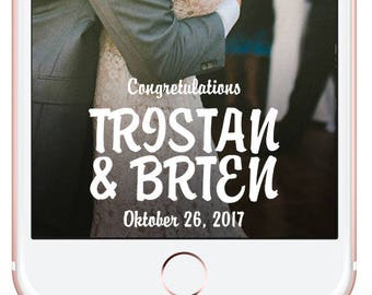 Wedding Snapchat Filter/Wedding Snap Chat Filter/Wedding Snapchat Geofilter/Snapchat Geofilter Wedding/Snapchat Filter Wedding/Just Married