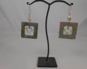 Aqua Terra Jasper + brushed silver bead earrings