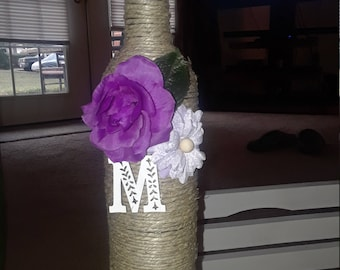 Custom decor, Wine bottles, Painted, Twine wrapped, Rustic centerpieces, Wedding decor/centerpieces, Baby/Bridal shower, Rustic home decor.