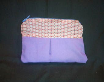 Purple wallet with pink and white pattern