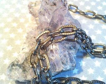 x 1 m gun metal black chain links chiseled 8.5x4.5x1.5 mm