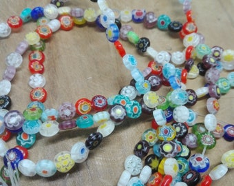1 strand of beautiful 60 beads 5 x 2 mm Millefiori glass shaped Puck, colorful designs, jewelry