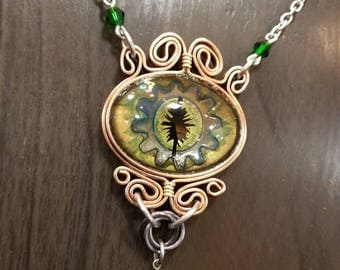 Green dragon eye in copper