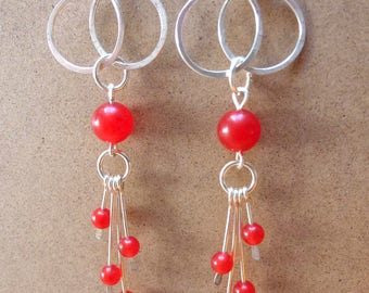 Earrings with red jade beads