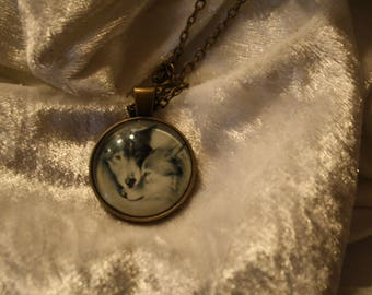 Necklace cabochon Wolf