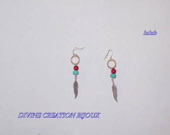 Silver metal feather earrings and beads