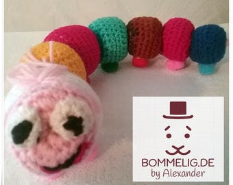 To give Bertha the colorful Caterpillar in loving hands, approx. 35 cm / Amigurumi / stuffed animal, crochet figure / crochet / crochet