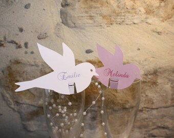 Set of 6 mark up bird personalized baptism, communion, birthday