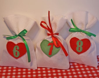 Set of 24 bags mesh braided white color for advent calendar