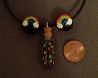 Rainbow wish bottle necklace