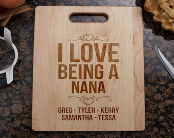 personalized Nana cutting board, Nana cutting board, Nana's kitchen, gift for Nana, Nana gift, cutting board for Nana, Nana gifts, nana
