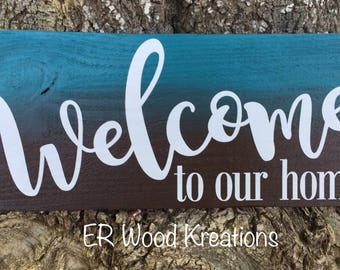 Welcome Sign - Home Sign - Wreath Sign - Wooden Sign - Wall Sign - Everyday Sign - Home Decor - Rustic Sign