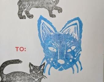 Linocut Cat Sticker (1 of 1)