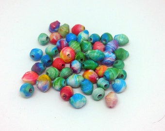 Small Tie Dye Paper Beads
