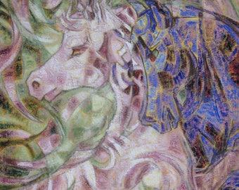 Eyes - original mixed media painting symbolizing the meeting of two horses