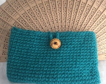 Crochet purse/pouch/clutch. Fully lined with button clasp