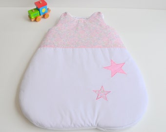 Sleeping bag sleeping bag 0-6 months handmade white rose and star Liberty Betsy pink blotter @lacouturebytitia