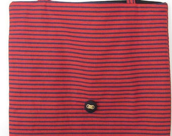 red and blue striped printed Tote bag