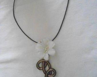 wire auminium pendant 2 colors with flower silk chiffon