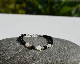 PEARL BRACELET, HEMATITE AND STERLING SILVER 925