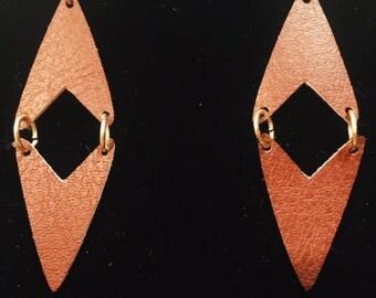 Burgandy, Faux Leather Earrings