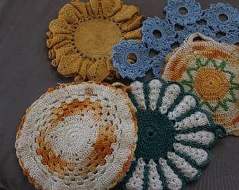 Five Assorted Crocheted Trivets