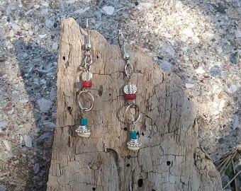 Earrings turquoise and Red - Native American inspired