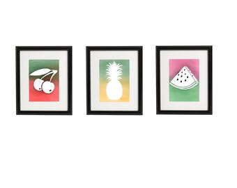 Kitchen fruit wall art, set of 3 fruit kitchen decor, printable wall art set