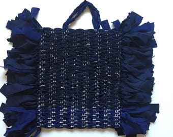 Navy Silk and Linen Tote