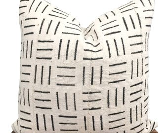 Ivory Mudcloth Pillow Cover, Authentic African Mudcloth