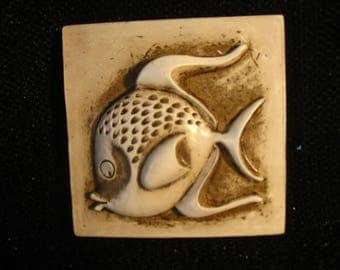 "Pair of Vintage Ceramic Fish Art Tiles by J. Lenehan ""Fred"" and ""Farley"""