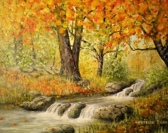 Autumn Stream - Original Acrylic on Gallery-Wrapped Canvas by Patrick Egan