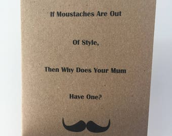 Funny Moustache Pun Card // Rustic // Friendship Card