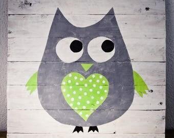 Green - children room Decoration - 30x30cm OWL painting