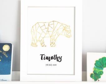 Personalised Geometric Bear Foil Nursery Print
