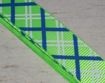 1 meter Ribbon grosgrain braces blue, white and neon green