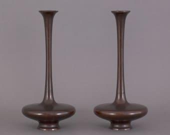 Two Meiji period Japanese bronze vases