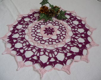 Handmade lace doily purple and pink