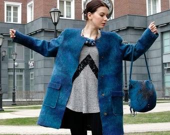 "Felted coat ""Isabella"" Women's clothing wool coat Felted jacket Felt coat handmade Wool and bamboo merino"