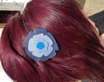 Two-tone grey blue felt hairband