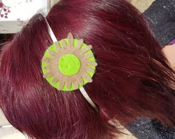 Green Flower felt headband